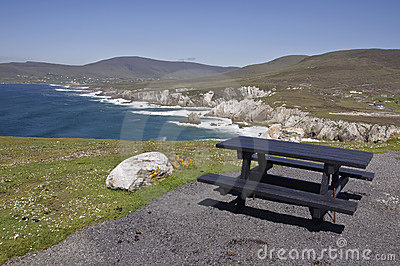 Picnic table with lovely seascape