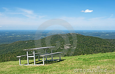 Picnic table in mountains