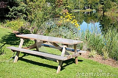 Picnic table at a river