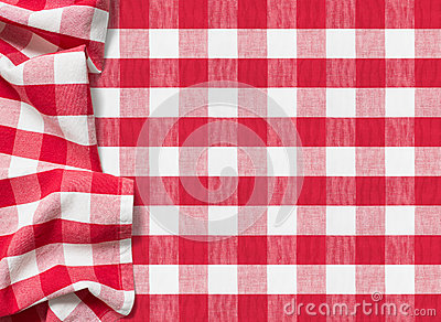 Picnic tablecloth checkered red background