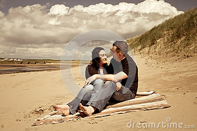 Picnic together on summer beach