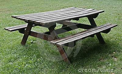 Picnic wood table isolated