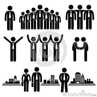 Pictograma del trabajador del grupo del hombre de negocios del asunto