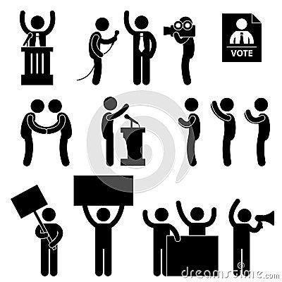 Pictograma del voto de la elección del reportero del político