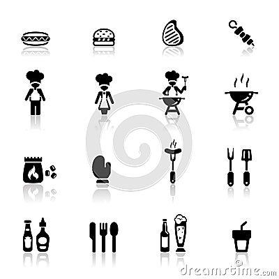 Pictogrammen geplaatst barbecue