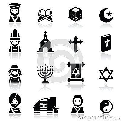 Pictogrammen geplaatst Godsdiensten