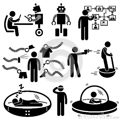 Pictogrammen van de Technologie van de Robot van mensen de Toekomstige