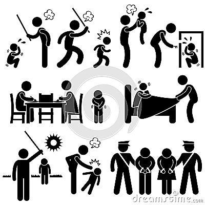 Pictogrammes d enfants d abus de famille