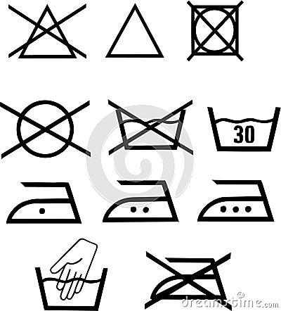 Pictogrammes de lavage de vecteur
