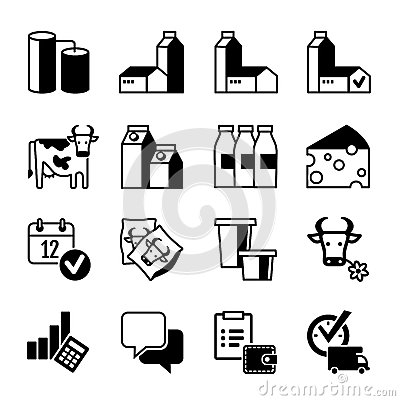 Pictograms Set - Dairy milk