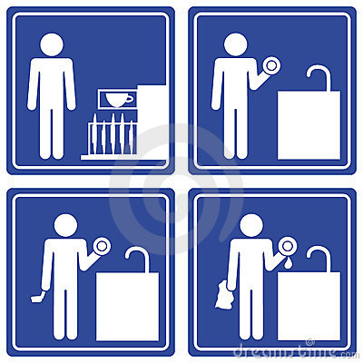 Pictograph - washing dishes, male