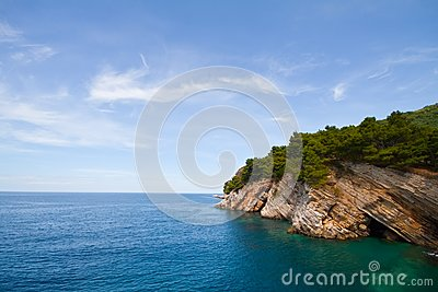 Pictorial blue Adriatic sea with rocks