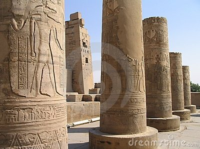 Pictorial reliefs on columns of Kom Ombo Temple, Egypt
