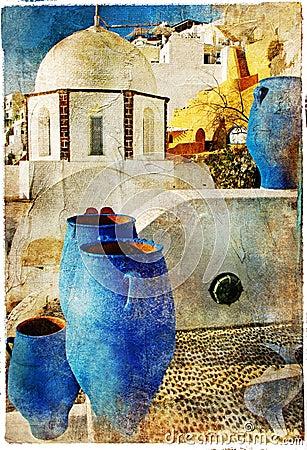 Pictorial Santorini streets