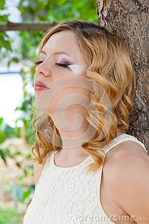 Picture of beautiful bride with creative make up