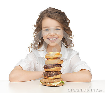 Little girl with junk food