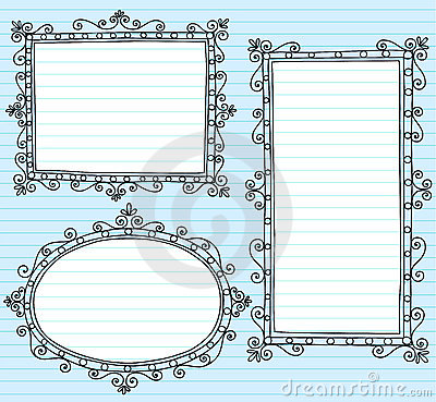 Picture Frame Borders Notebook Doodles Set