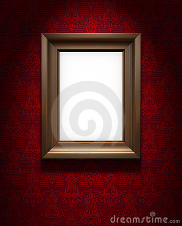 Picture frame on red wallpaper