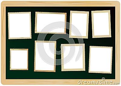 picture frames on a blackboard