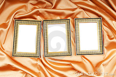 Picture frames on the color satin