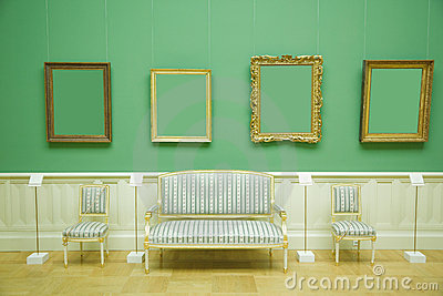picture frames in green room of museum stock photography image 14754492