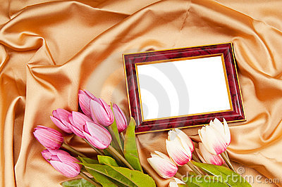 Picture frames and tulips flowers