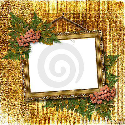 Picture gold frame with bunch
