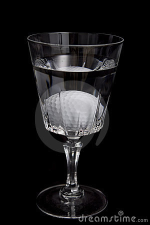 Picture of a golf ball in water hazard