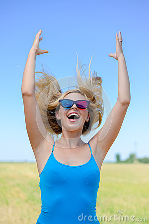 Free Picture Of Delighted Happy Young Blond Woman With Stock Image - 58314071