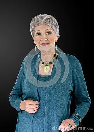 Picture of older woman with multi colored semiprecious set Stock Photo