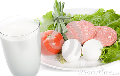 Picture of onion, eggs, glass of milk, ham, tomato