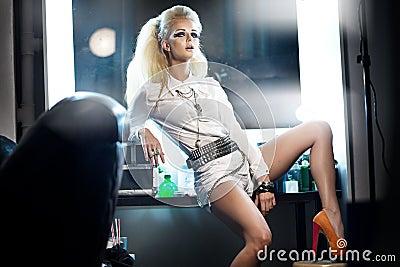 Picture presenting stylish woman in studio