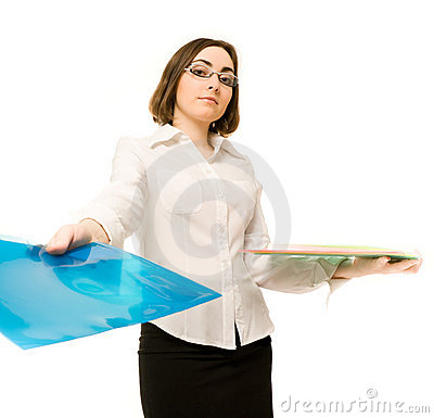 Picture of a secretary with folders