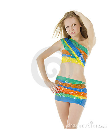 Picture of sexy woman in color scotch tape