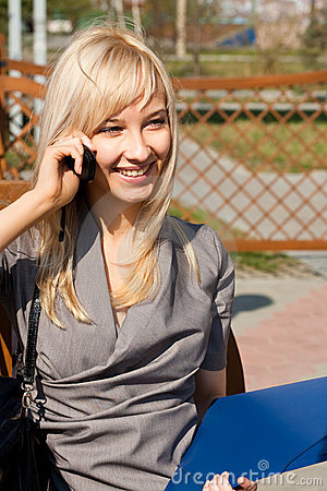 Picture of talking to phone girl