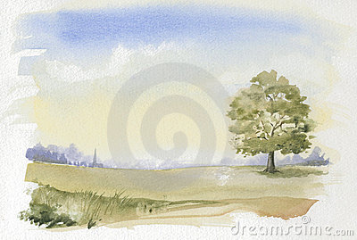 Picture of typical English Countryside Watercolour