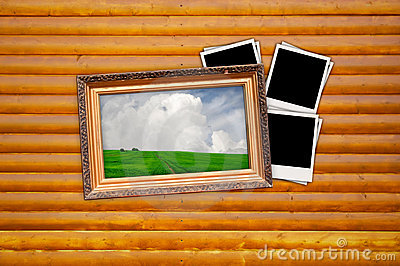 Picture in Vintage Frame with Blank Photos on Wood