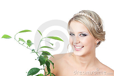 Picture of woman with green plant over white