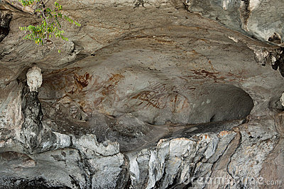 Pictures on the wall of cave