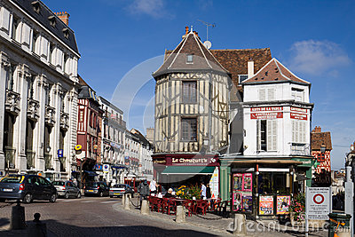 A picturesque cityscape in the old town of Auxerre, France Editorial Image