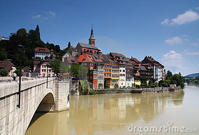 Picturesque German town upon a brown river