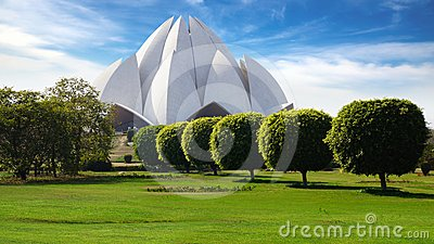 Picturesque landscape with Lotus Temple. New Delhi