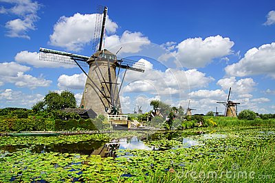 Picturesque landscape with windmills. Kinderdijk Editorial Photo