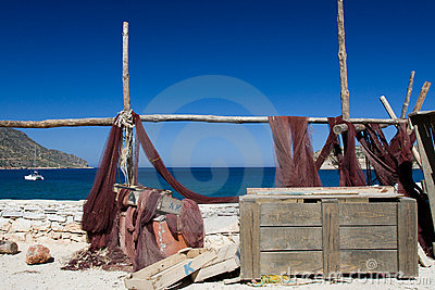 Picturesque marine landscape fishing net on sea