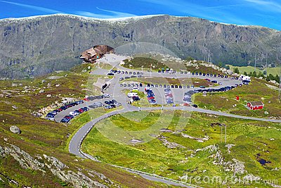 Picturesque Norway mountain landscape with parking