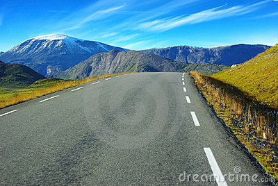 Picturesque Norway mountain landscape with road.