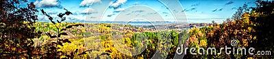 Picturesque panoramic view of autumn landscape in Sigulda. Latvi
