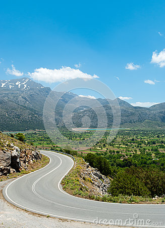 Picturesque road from Lasithi Plateau