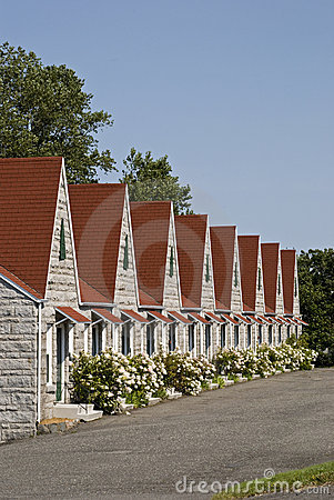 Picturesque row of resort cabins