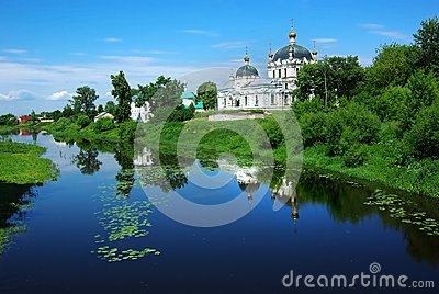 Picturesque Russian landscape with church.